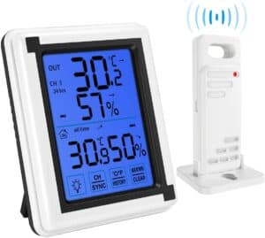 Brifit Indoor Outdoor Thermometer Humidity Monitor, Wireless Hygrometer with Touchscreen Backlight