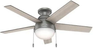 Anslee Low Profile 46 Ceiling Fan with LED light and push chain control