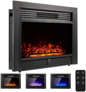YODOLLA 28.5 inch Electric Fireplace Insert with 3 Color Flames