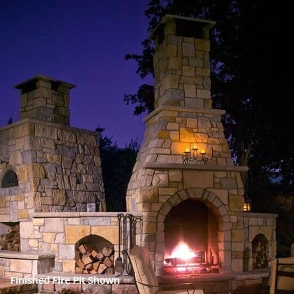 """Pre-Engineered Arched Masonry Wood Burning Outdoor Fireplace - 36"""""""